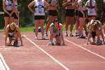 Rachel on the blocks for the start of the 100 metres