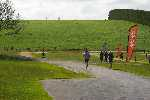 The end of the course zigs down the hill and zags back to the finish line (out of sight on the right)