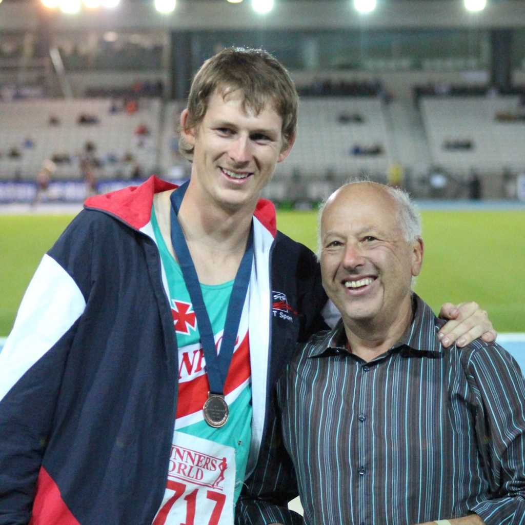 Glen with Bronze medal and coach John