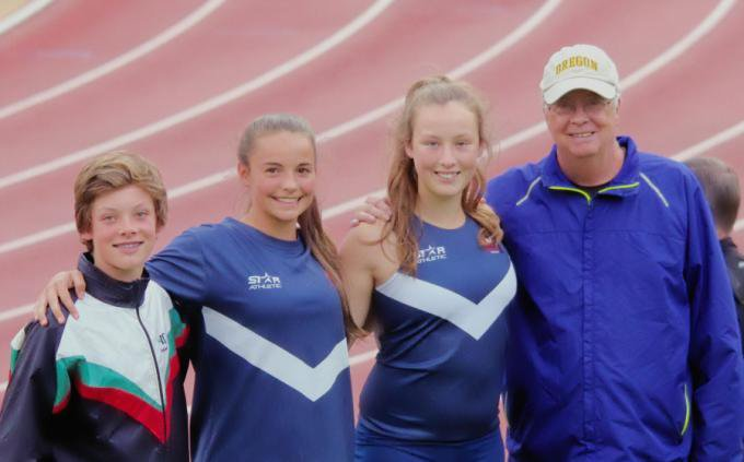 Rhys, Bethany, Kyla and Pole Vault coach Peter Rule