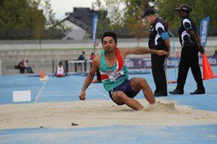 Jagmandip Gill gets out over seven meters in the Long Jump
